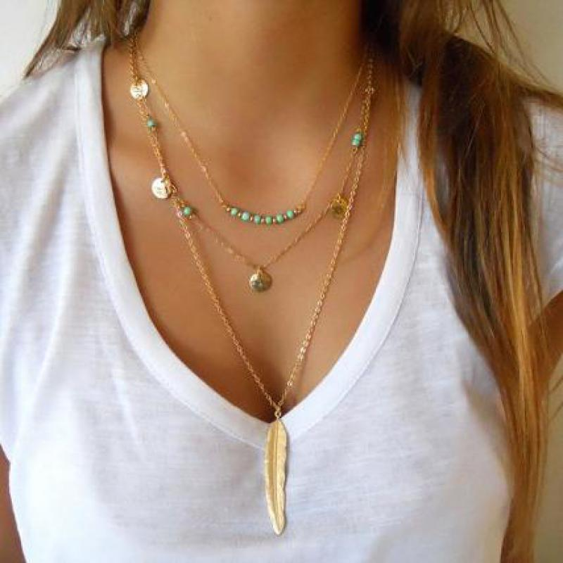 European And American Green stone Beads  Multi-layer Necklace