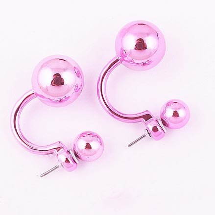 New Trendy Double Balls  Shiny Stud Earrings for Woman's & Girls