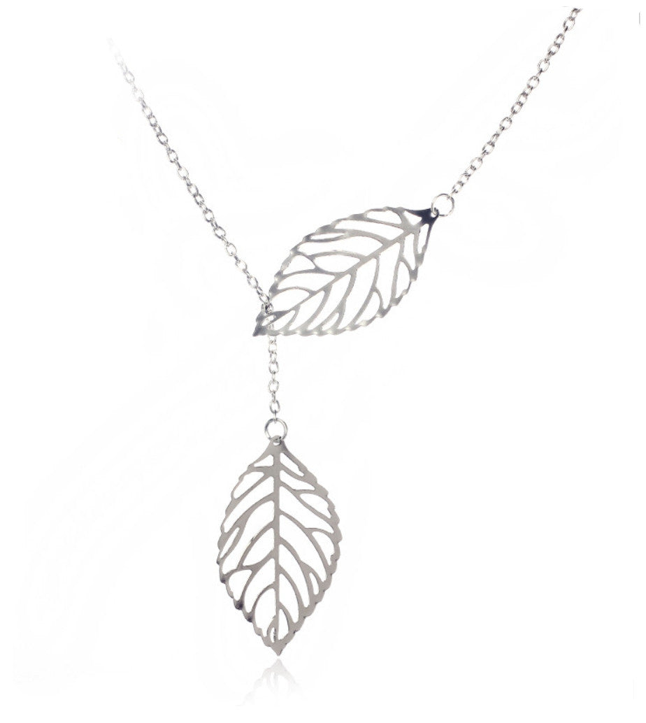Metal Double Leaf Pendant Necklace For Women & Girls