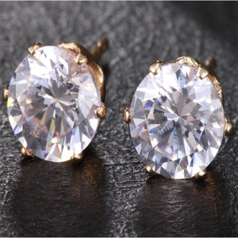 Trendy Woman Round Diamond Crystal Earrings