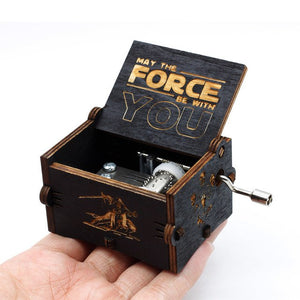 New Black Antique Carved Star Wars Music Box