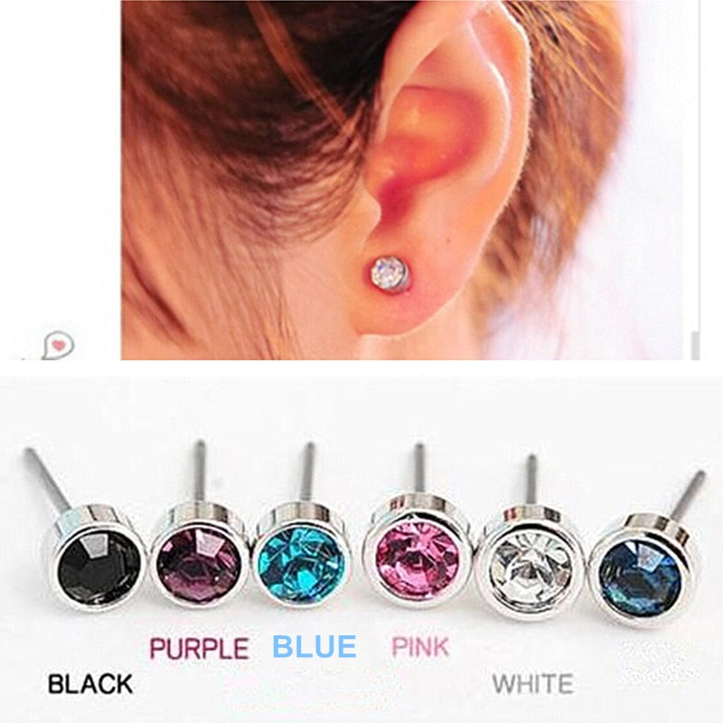 Cute Simple Crystal Stud Earrings  For Women & Girls