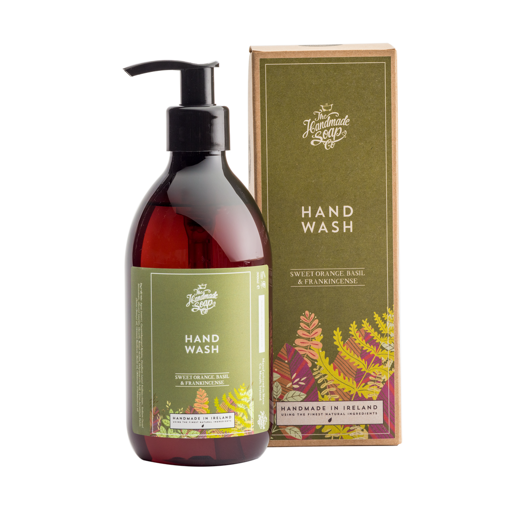 All Natural Environmentally Friendly Handmade Chemical Free Sweet Orange Frankincense Basil Essential Oil Hand Wash Liquid Soap