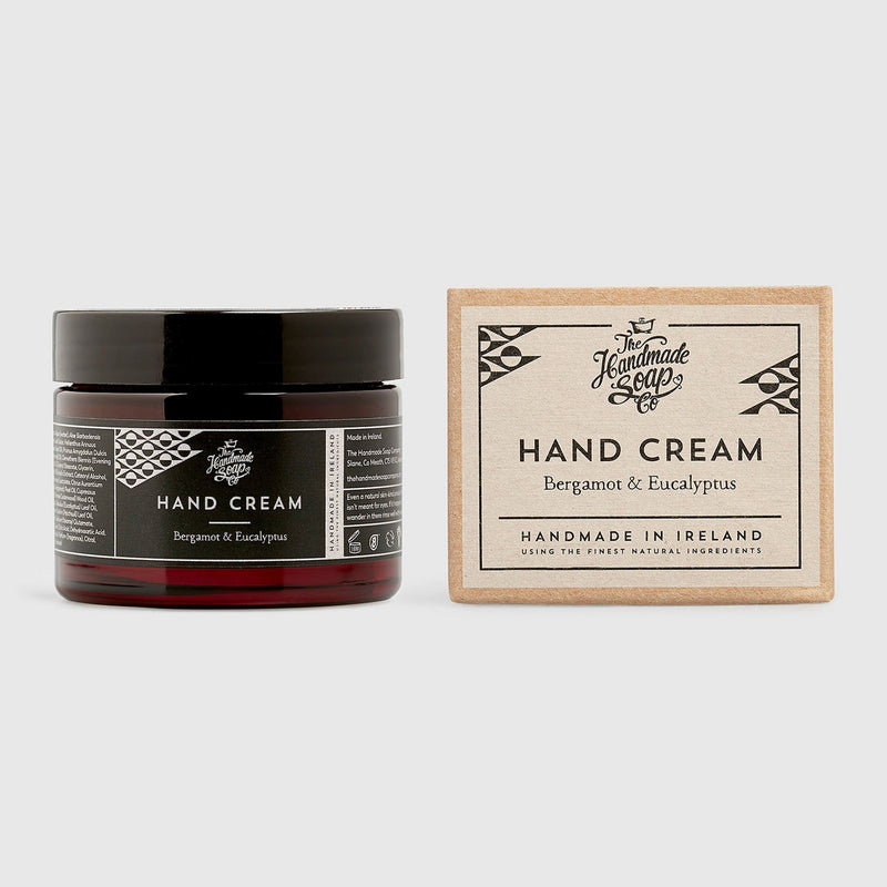 Handmade, Natural, Vegan and Cruelty Free Hand Cream. Scented with essential oils from Bergamot and Eucalyptus. Presented in a glass jar and Gift Box.