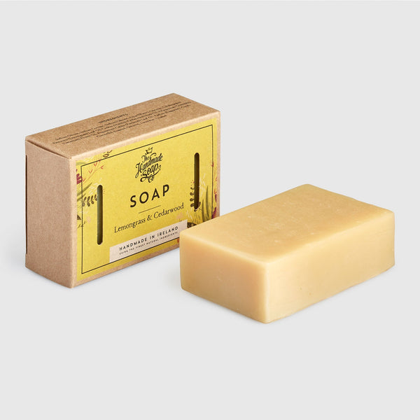 Handmade, Natural, Vegan and Cruelty Free Soap Bar. Scented with essential oils from Lemongrass & Cedarwood. Presented in a Gift Box using recycled materials.