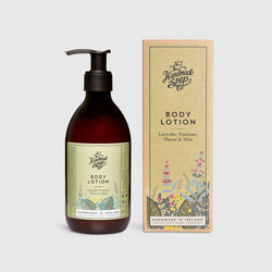 Handmade, Natural, Vegan and Cruelty Free Body Lotion. Scented with essential oils from Lavender, Rosemary, Thyme & Mint. Bottled in 100% recycled materials & presented in a Gift Box.