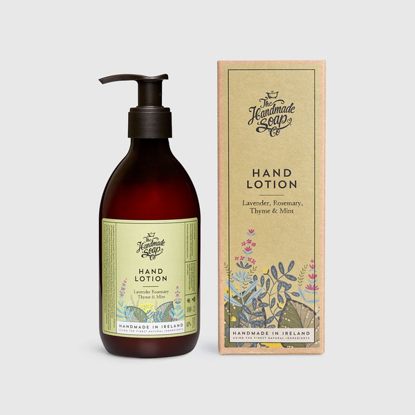 Handmade, Natural, Vegan and Cruelty Free Hand Lotion. Scented with essential oils from Lavender, Rosemary, Thyme & Mint. Bottled in 100% recycled materials & presented in a Gift Box.