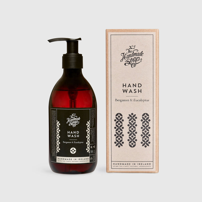 Handmade, Natural, Vegan and Cruelty Free Hand Wash. Scented with essential oils from Bergamot and Eucalyptus. Bottled in 100% recycled materials & presented in a Gift Box.