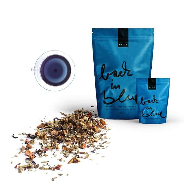 <p>BACK IN BLUE<br />ORGANIC HERBAL TEA<br /> WITH CRANBERRY & POMEGRANATE</span></p>