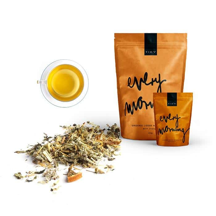 <p>EVERY MORNING<br />ORGANIC HERBAL TEA<br /> WITH ORANGE</span></p>