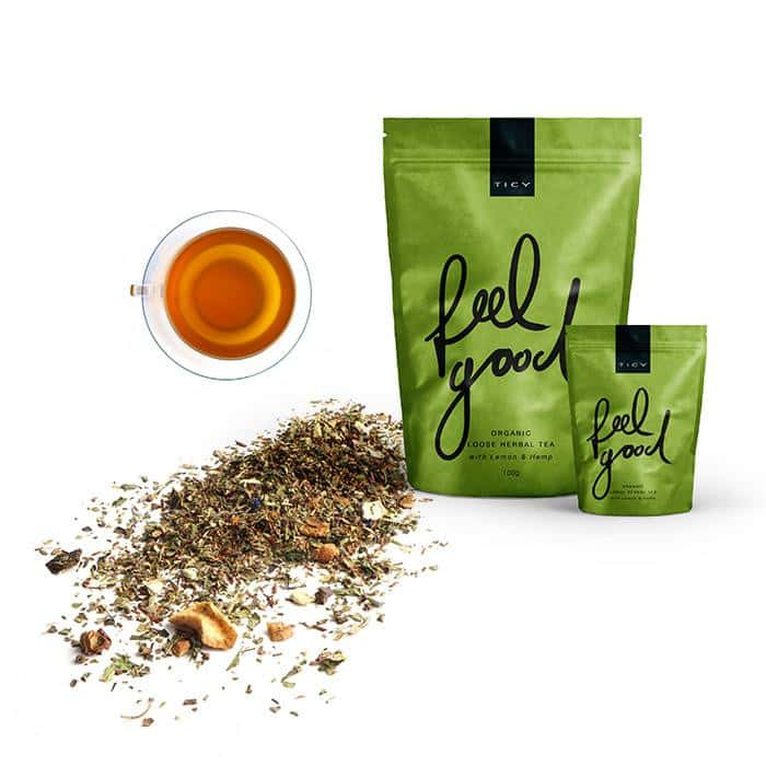 <p>FEEL GOOD<br />ORGANIC HERBAL TEA<br /> WITH LEMON & HEMP</span></p>