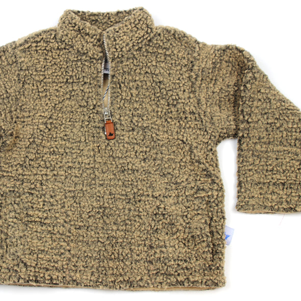 Sherpa Fleece Pullover for Kids - Brown on Brown
