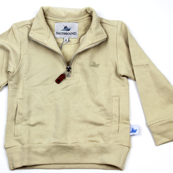 1/2 Zip Knit Pullover for Kids - Khaki