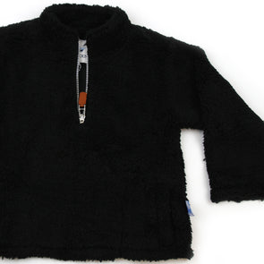 Sherpa Fleece Pullover for Kids - Black