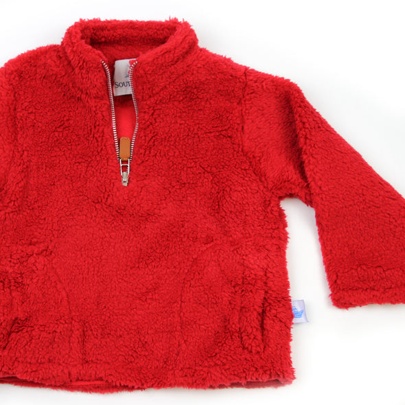 Sherpa Fleece Pullover for Kids - Red