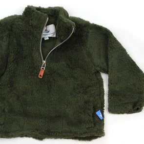 Sherpa Fleece Pullover for Kids - Olive