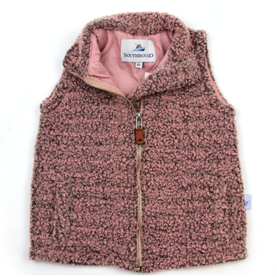 Sherpa Fleece Vest for Kids - Pink on Gray