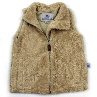 Sherpa Fleece Vest for Kids - Khaki