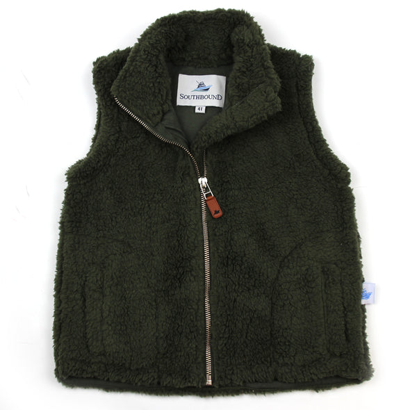 Sherpa Fleece Vest for Kids - Olive