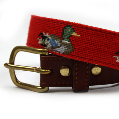 Hand Stitched Needlepoint Mallard Duck Belt