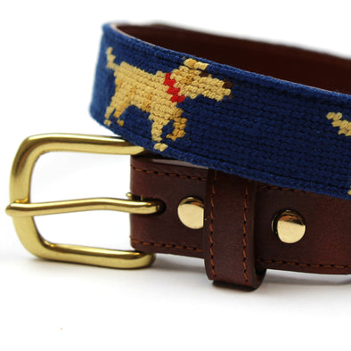 Hand Stitched Needlepoint Dog Belt