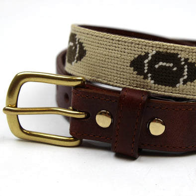 Hand Stitched Needlepoint Football Belt