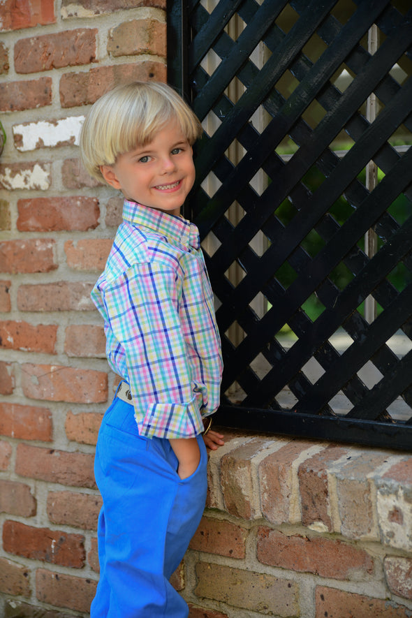 Easter plaid Destin dress shirt