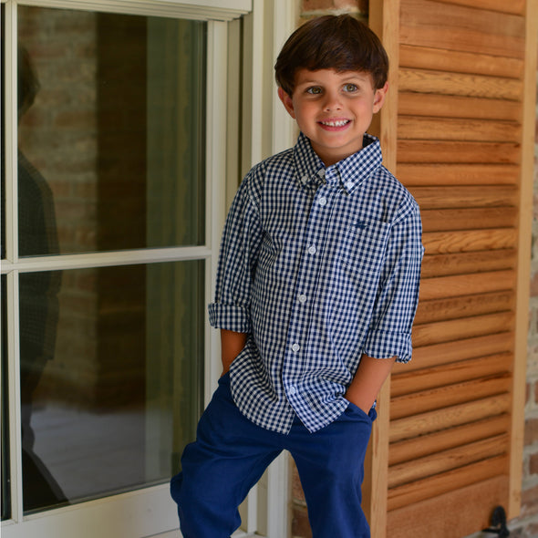 Destin Kids Dress Shirt - Navy/White