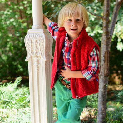 Sherpa Fleece Vest for Kids - Red