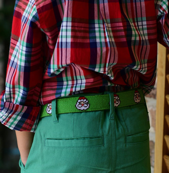Hand Stitched Needlepoint Santa Belt