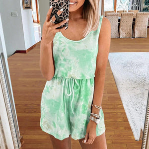 Tie Dye Printed Sleeveless Romper