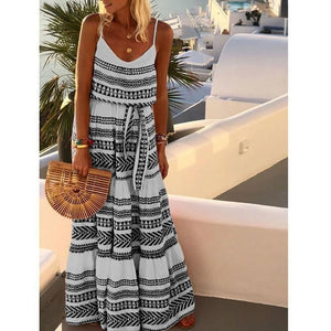 Geometric Printed Maxi Slip Dress