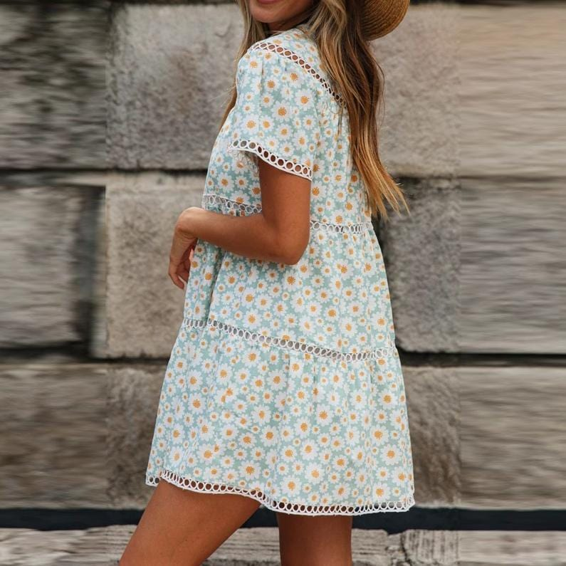 Tiny Floral Print Mini Flare Dress