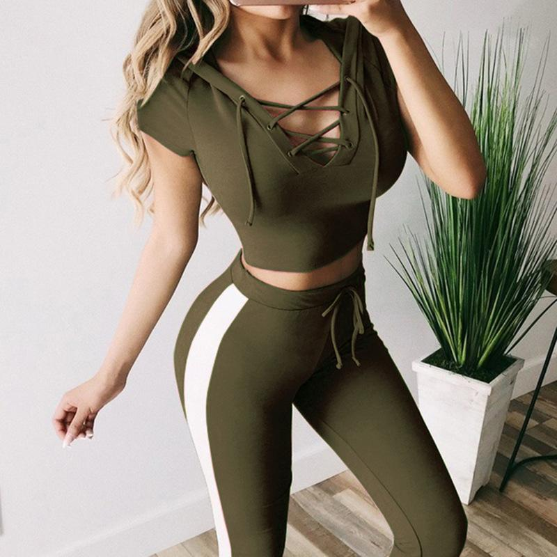 Crop Hoodie with Jogger Pants Sports Set