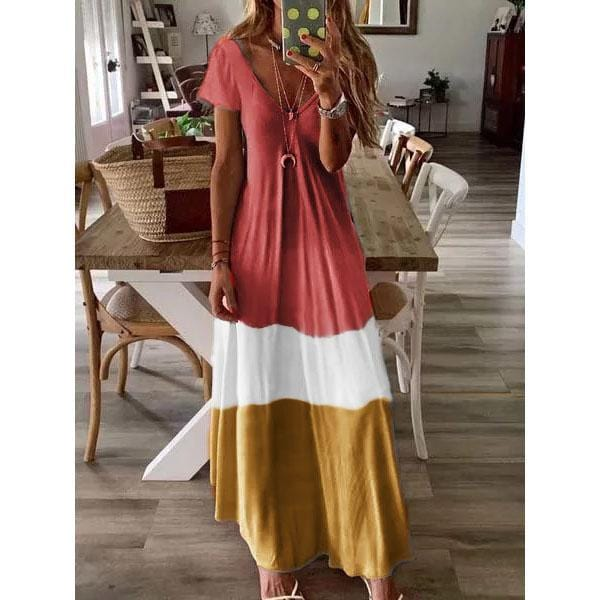 Color Block Short Sleeves Maxi Dress