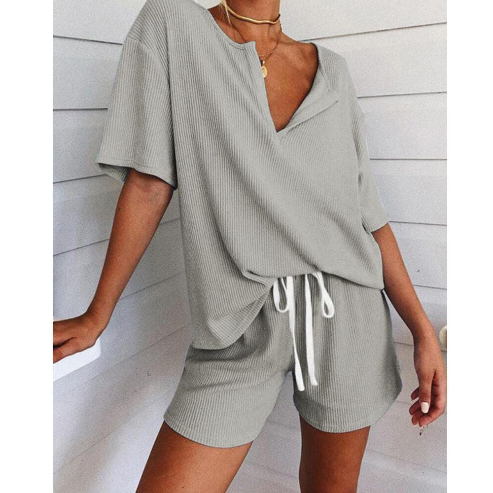 V Neck Short Sleeves Two Piece Set