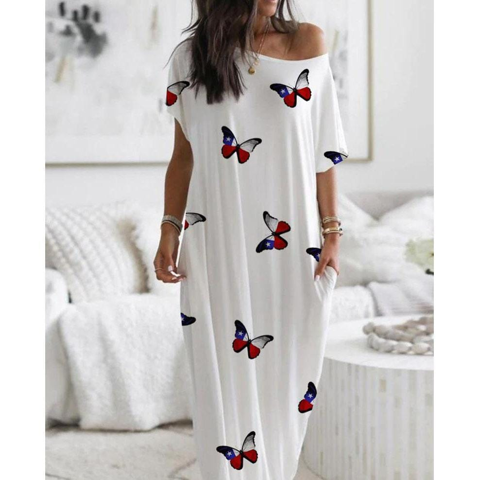 Butterfly Print Short Sleeves Loose Dress