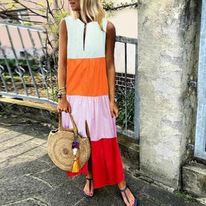 Color Block Front Slit Sleeveless Maxi Dress