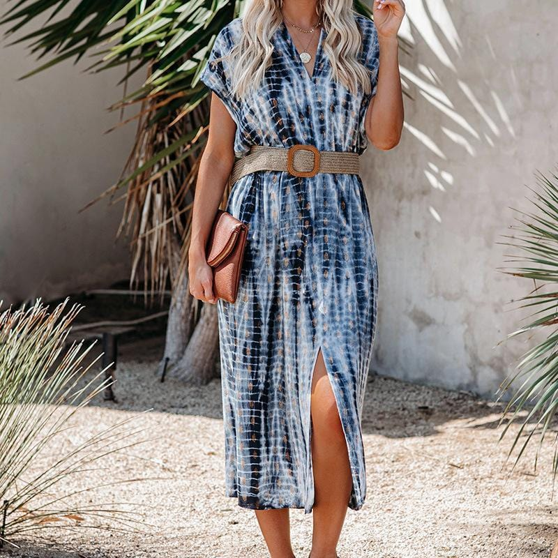 Front Slit Tie Dye Print Midi Dress