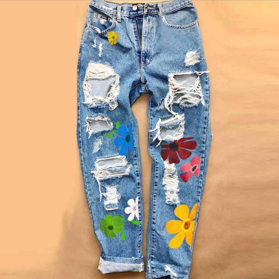 Zip Up Floral Print Ripped Jeans