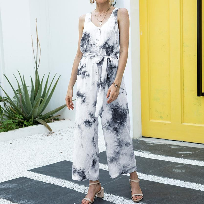 Tie Dye Printed Sleeveless Button Jumpsuit