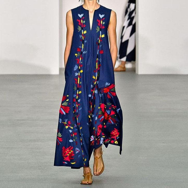 V Neck Sleeveless Printed Maxi Dress