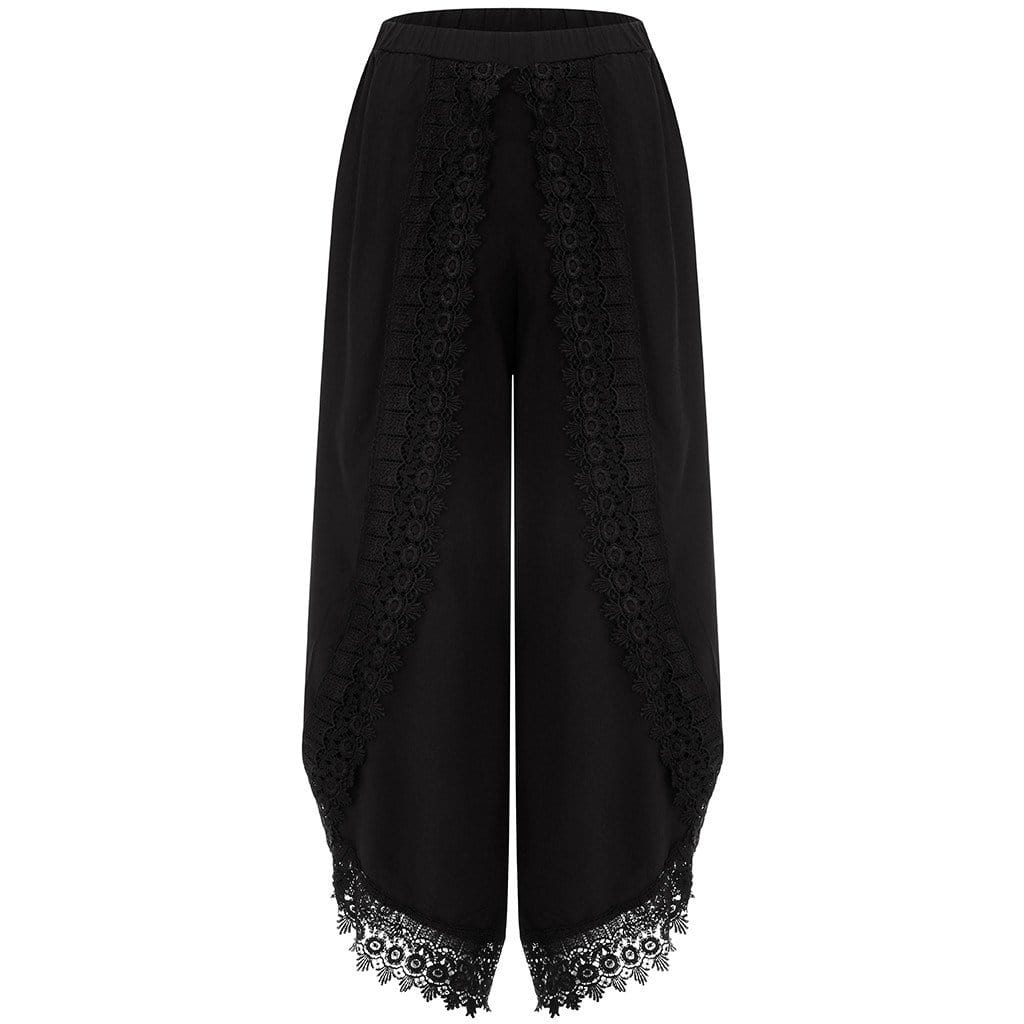 Asymmetric Lace Trim Wide Leg Pants