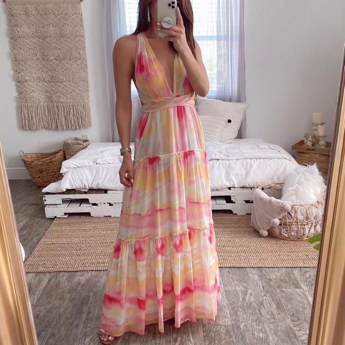 Multi Ways Wear Printed Maxi Party Dress