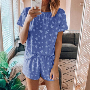 Star Print Short Sleeves Two Piece Set