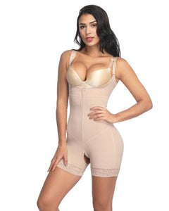 Women's Lace Slimming Underwear Bodysuit Clip and Zip Waist
