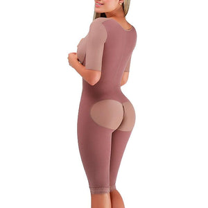 Half Sleeves Full Zipper Body Shaper with Back