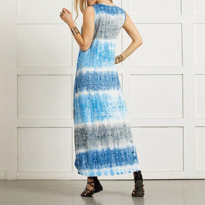 Sleeveless Pockets Tie Dye Printed Maxi Dress
