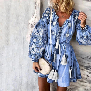 Bohemian Print V Neck Mini Dress