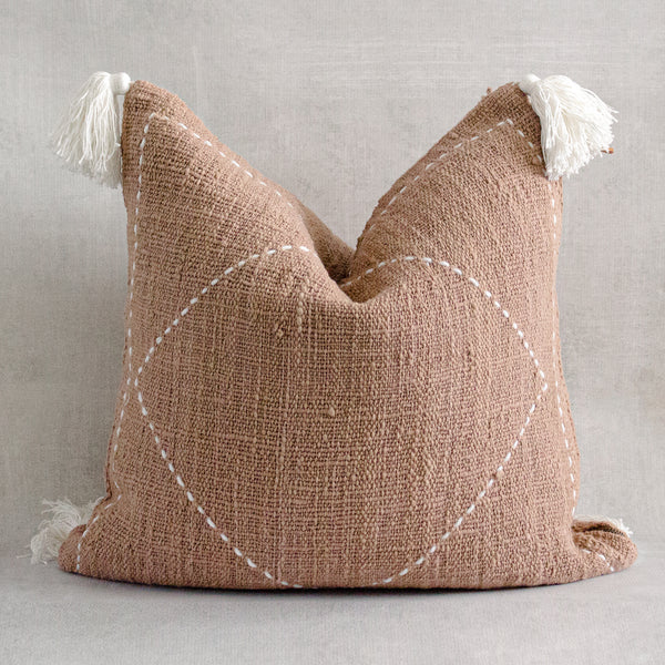 KEMI - Textured Natural Raw Cotton Throw Pillow Cover